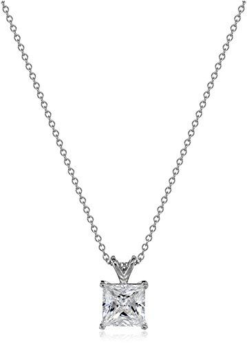 Sterling Silver Princess Cut Solitaire - Platinum-Plated Sterling Silver Princess-Cut Solitaire Pendant Necklace made with Swarovski Zirconia (8mm), 18