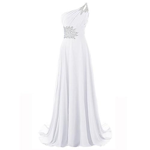 MYPROM Women\'s One Shoulder Beadings Chiffon Bridesmaid Long Prom ...