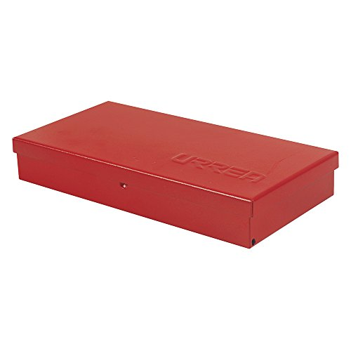 "URREA Metal Tool Box - 9.6"" x 5"" x 1.4"" Portable Tool Storage/Organization Box with 24 Gauge Construction & Durable Red Finish - 4725"