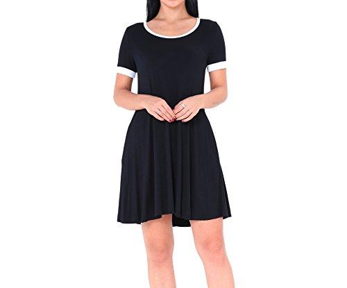 Manche Avec Poche Casual Acvip Eté Noir Robe Courte Femme 1qYc47p