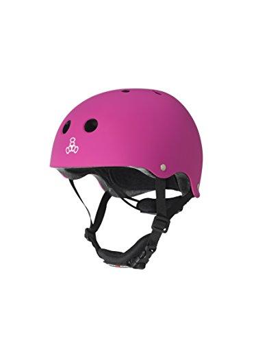 Triple Eight Lil 8 Dual Certified Sweatsaver Kids Skateboard and Bike Helmet with Padded Chin Buckle, Neon Pink Rubber