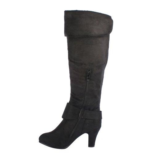 Cuffed Womens ANNA Color Collar BLACK 185 Heel NB200 Knee Chunky High Boots 7 Size qtwEwBxfUn