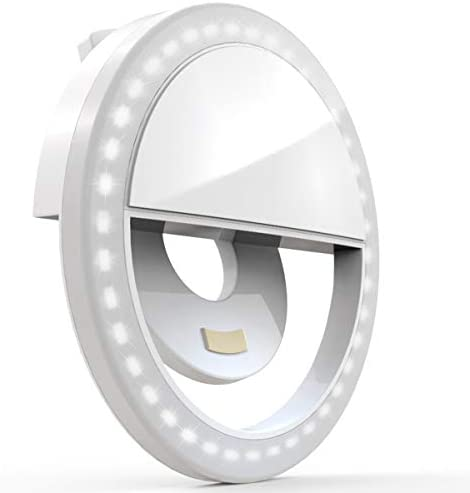 Auxiwa Clip on Selfie Ring Light [Rechargeable Battery] with 36 LED for Smart Phone Camera Round Shape, White
