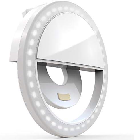 [해외]Auxiwa 클립 온 셀카링 라이트 [충전식 배터리] 스마트 폰 카메라 라운드 모양용 36개 LED 포함 화이트 / Auxiwa 클립 온 셀카링 라이트 [충전식 배터리] 스마트 폰 카메라 라운드 모양용 36개 LED 포함 화이트