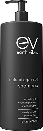 Earth Vibes Organic Moroccan Argan Oil Shampoo - (16oz/473mL) - Sulfate & Paraben Free - Made With Jojoba Oil, Coconut Oil - Moisturizing, Strengthening, Volumizing All Hair Types - For Men & Women (Shampoo Organic Free Sulfate)