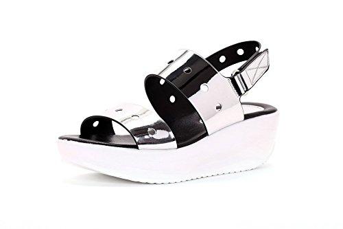 AllhqFashion Mujeres Microfibra Sólido Velcro Puntera Abierta Plataforma Sandalia Plateado