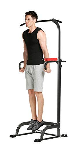 Power Tower, Heavy Duty Dip Station,Home Gym Adjustable Multi-Function Fitness Equipment Pull Up Bar Stand Workout Station[US Stock] (Black) (Best Dip Station For Home Gym)