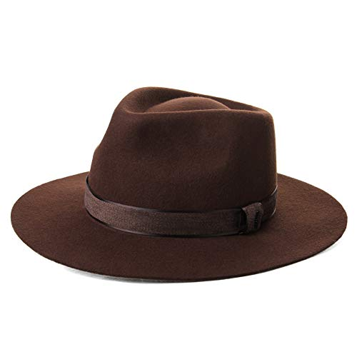Mens 1920s Derby Homburg Gangster Fedora Manhattan Felt Mafia 100% Wool Hat  for Women Brown 43edbfb87ec9