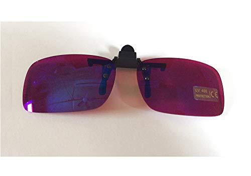Color Blind Clip on Glasses TP-24 for Red Green Color Blindness Purple Lens Glasses Flip on for Work