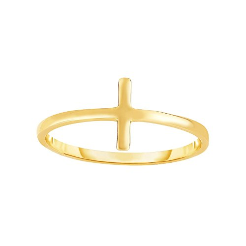 14k Yellow Gold Size 7 Polish Finish Plain Cross Ring by Diamond Sphere