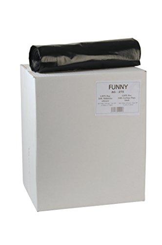 Funny LDPE-Regenerat Müllsäcke, schwarz, gerollt, 240 l, Typ 100, 1er Pack (1 x 75 Stück)