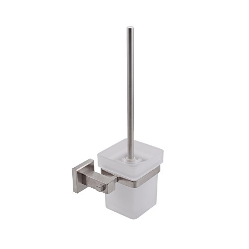 (KES Toilet Brush with Holder Set Wall Mount SUS304 Stainless Steel Holder, Brushed Finish)