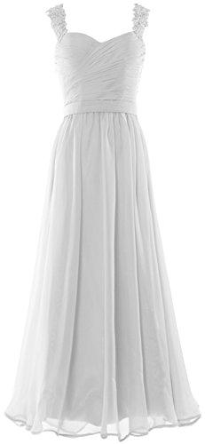 MACloth Women Straps Sweetheart Lace Chiffon Long Prom Dress Formal Evening Gown (EU36, Morado)