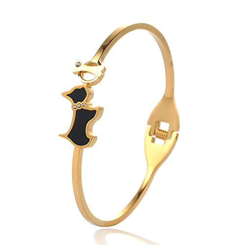 Stainless Stell Enamel Kitty Cat Bangles Charm Love Lock Heart Shaped Bracelet for Women Jewelry ()
