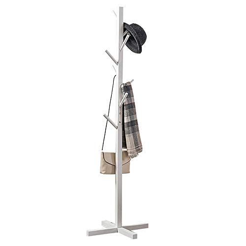 Premium Wooden Coat Rack Free Standing, with 8 Hooks Lacquered Pine Wood Tree Coat Rack Stand for Coats, Hats, Scarves, Clothes, and Handbags