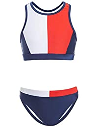 Tommy Hilfiger Kids Girls Two-Piece Swimsuit, Tankini Flag Blue Colorblock, 6