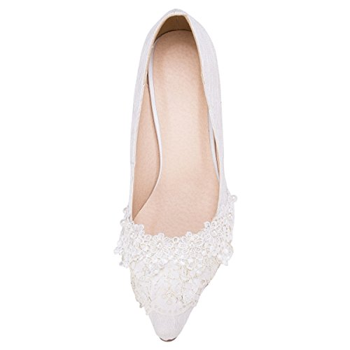 Fashion Kevin la Mujer boda Zapatos blanco de Blanco a moda qddvC