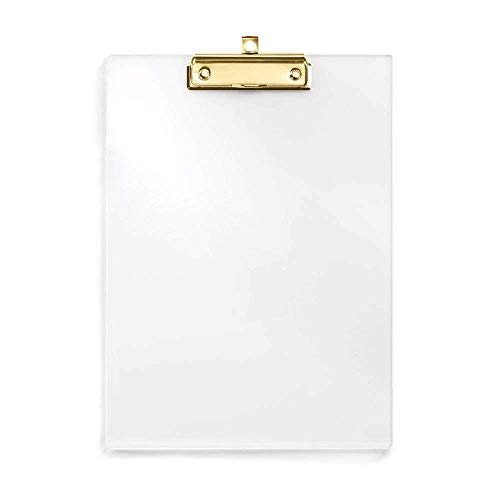 UNIQOOO Thick Clear Acrylic Clipboard with Shinny Gold Finish Clip, Perfect for Modern Arts Lover, Fashion and Style Expert, Calligrapher, Office, Seminars, Workshops, Home school, Classroom and - Office Clear Clipboard