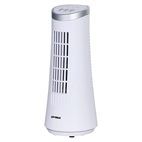 "Optimus F-7345WH 12"" Desktop Ultra Slim Oscillating Tower Fan, LED - White 12"" Desktop Oscillating Tower Fan, White"