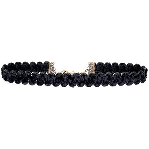 Twilight's Fancy Soft Black Chenille Swirl Ribbon Choker Necklace (Large)