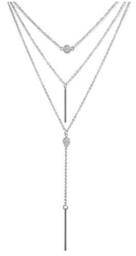 VIJOYEE Y Layer Simple Bar Pendant Necklace Center Long Lariat Chain For Women Jewelry (Two Sticks - Silver) ()