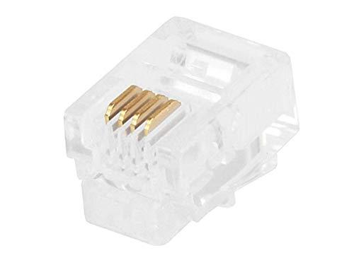 - Monoprice RJ11 6P4C Plug Flat Stranded, 50-Piece/Bag (107268)