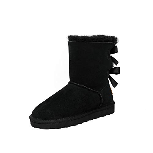 TF STAR Sheepskin Fur Lining Winter Warm Boots for Women & Ladies, Women's Suede Leather Short Fashion Bow Snow Boots