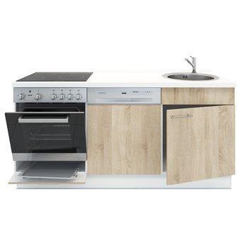 Miniküche mit Geschirrspüler, Spüle, Ofen, Kochfeld, Arbeitsplatte ... | {Singleküche mit spülmaschine 18}