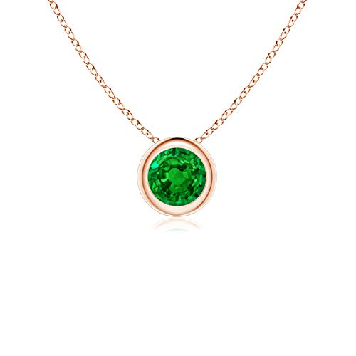 Bezel-Set Round Emerald Solitaire Pendant in 14K Rose Gold (4mm Emerald)