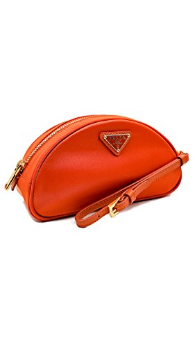 Prada Tessuto Nylon and Saffiano Leather Papaya Cosmetic Case Tote Wristlet Pouch Purse - On Handbag Prada Sale