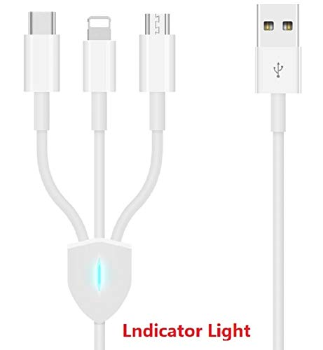 (Multi USB Charging Cable 3 in1With Indicator Light 4.0ft(1.2m) with Micro USB/Type C Compatible for Cell Phone X 8 7 Plus S9 Galaxy S8 Pixel 2/3 Tablets and More)