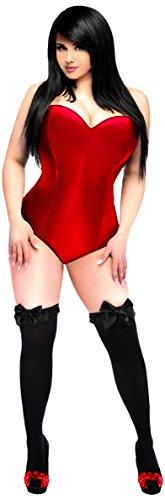 Daisy Corsets Women's Lavish Side Zipper Corset Romper, Red, 6X