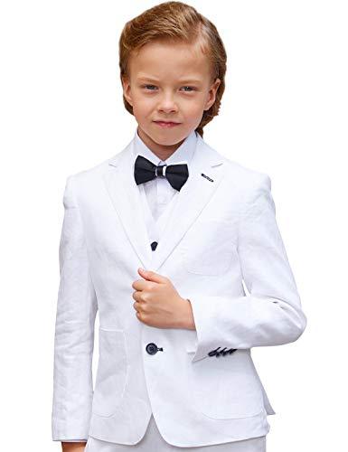 (Spring Suit Boy's Slim Suits Comfortable and Breathable Dress Suit 6 Pieces Boy Linen Suits Set)