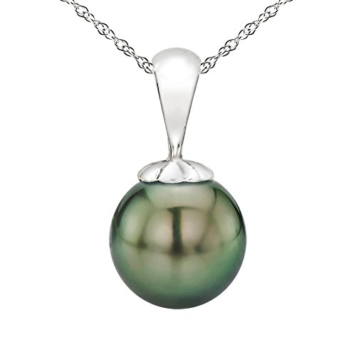 14k White Gold 10-10.5mm Round Black Tahitian Cultured High Luster Pearl Pendant Necklace, 18