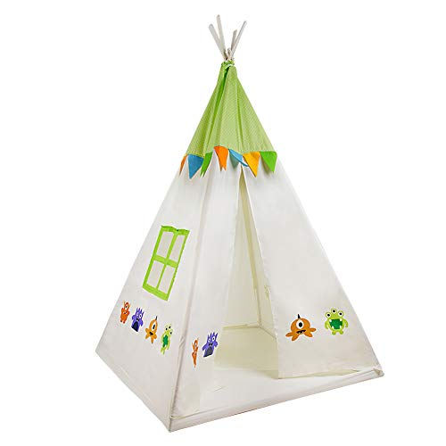 Teepee Tent for Kids Children Play Tent Foldable Portable Indoor Outdoor Princess Tent with Carrying Case Perfect Christmas Halloween Birthday Gifts Idea for Boys & Girls