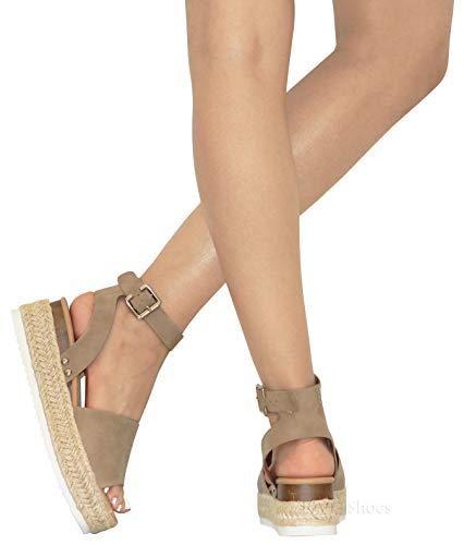 MVE Shoes Women's Casual Peep Toe Ankle Strap Sandals - Cute Summer Espadrilles High Platforms - Comfort Wedges Saldals, Topic DK NAT 10