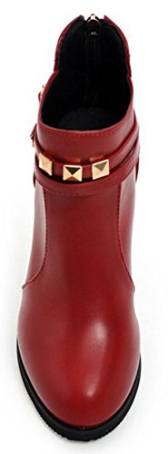 High Aisun Zip Round Heels Short Women's Booties Chic Red Toe Chunky Up SpIUqp