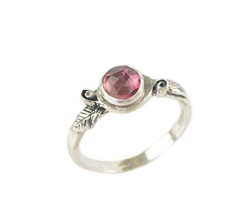 Pink Tourmaline Floral Design - Pink Tourmaline Sterling Silver Rose Romantic Boho Bohemian Stack Twig Flower Leaf Ring