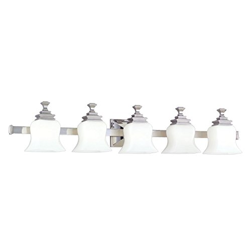 Wilton 5-Light Vanity Light - Polished Nickel Finish with Opal Matte Glass Shade