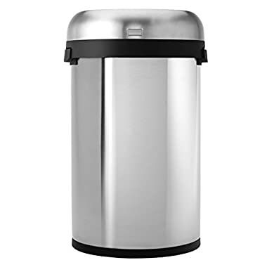 simplehuman Semi-Round Open Trash Can, Commercial Grade, Stainless Steel, 60 L / 16 Gal