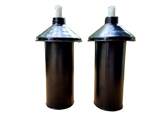 Set of (2) Metal REFILLABLE Tiki Torch Replacement CANNISTERS with Fiberglass Wick!