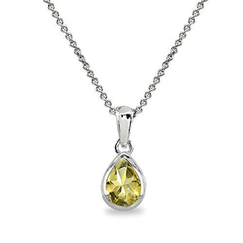 - Sterling Silver Citrine 8x6mm Teardrop Bezel-Set Dainty Pendant Necklace for Women, Teen Girls