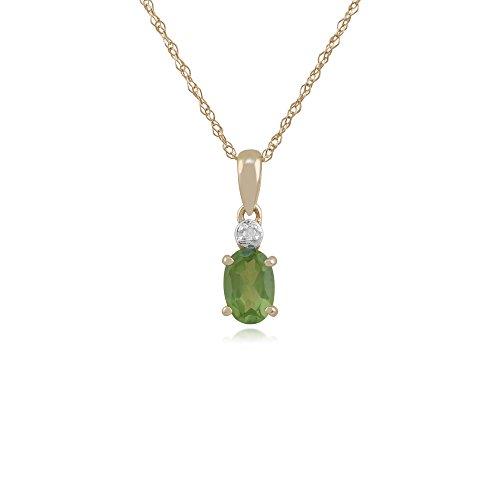 Gemondo Bague Or Jaune 9ct Peridot et Diamant Ovale Boucles d'oreille à tige et collier de 45cm de