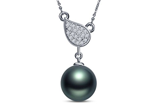 9 mm Tahitian Cultured Pearl and 0.08 carat total weight diamond accent Necklace in 14KT White - Cultured Pearl Necklace Mastoloni