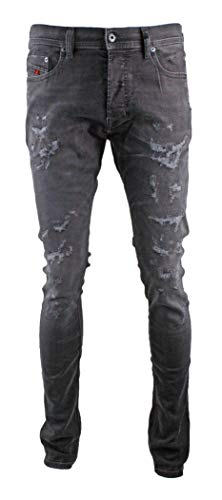 Diesel Men's Jeans Tepphar Slim Fit Cotton Black Destroy Mid-Rise 00CKRI- 0683P- 02 (W 30 - L 32) ()