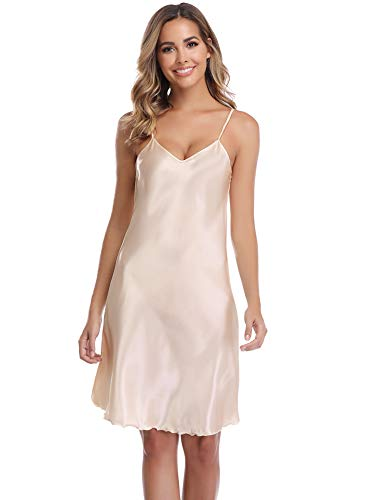 (Vlazor Satin Nightshirts Sexy Nightdress Spaghetti Strap Negligee Nightgown Chemise Slip with Deep V Neck)