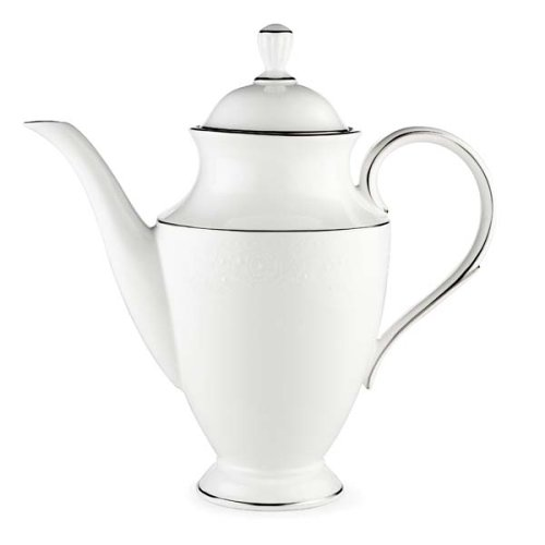 Platinum Coffee Pot Banded (Lenox Floral Veil Bone China Platinum Banded Coffeepot)