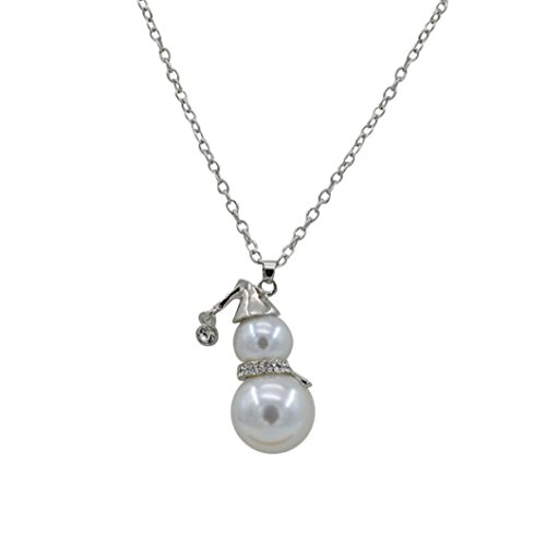 (2018! Women Pearl Jewelry Cute Snowman Pendant Rhinestone Long Sweater Necklace for Ladies Girls Gifts (Silver) )