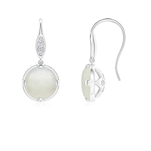 Moonstone Fish Hook Earrings with Diamond Accents in Silver (6mm Moonstone)