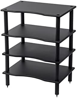 Monolith 4 Tier Shelf Audio Stand – Black Open Air Storage, Modular Design, Sturdy, Compatible with Bose, Polk, Sony, Yamaha, Pioneer and Others